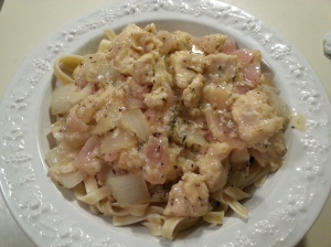 chicken, red onion on pasta