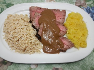 london broil with rice and squash