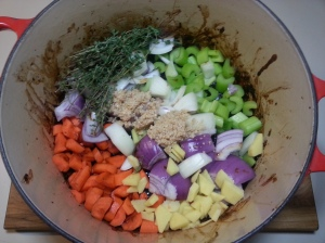 all veges and spices searing