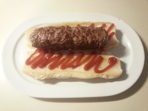 burger w/ ketchup on bun