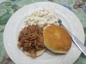 finished pulled pork plate