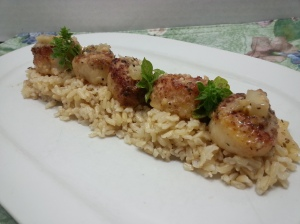 scallops on rice