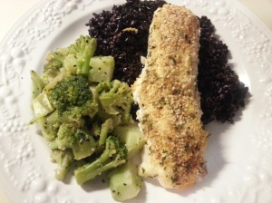 baked hake w/ black rice